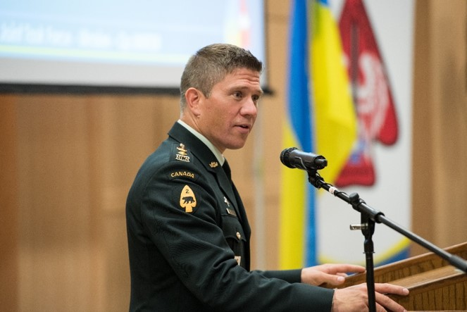 LCol Kristopher Reeves CD, Commanding Officer of 3RCR, providing an update on Op UNIFIER Roto 4 at UWVA – CAF Appreciation Event held in Toronto on 1 Jun 2018.