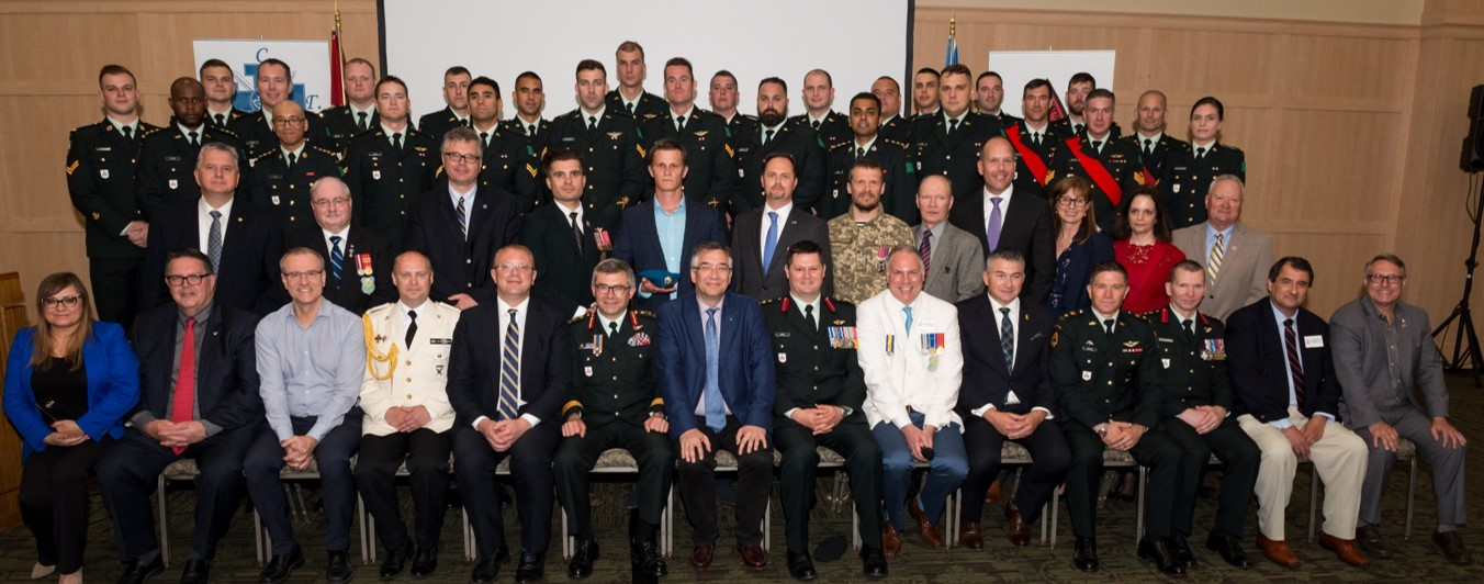 Members of the Canadian Armed Forces, veterans, diplomats and senior community leaders attending the Ukrainian War Veterans Association of Canada – Canadian Armed Forces Appreciation Evening held in Toronto on 1 Jun 2018. Photo by Stephen Parry.